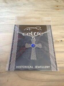 Celtic Blue Gem Cross Silver Pewter Pendant On A Chain