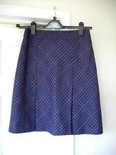 M&S Purple Tartan A line Box pleat Cashmere skirt size 8