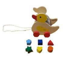 Nachzieh Ente Stecktrommel  mit steckformen Nachziehspielzeug Tier Holz beeboo