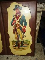 VTG 1976 bicentennial colonial minutemen wooden plaques lot of 4 RARE
