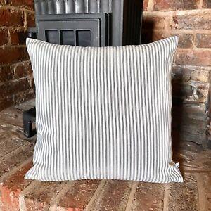 684. Handmade Grey Ticking Stripes 100% Cotton Cushion Cover Various sizes