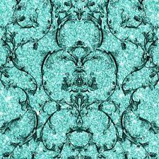 Damask Wallpaper Glitter Textured Vinyl Baroque Scroll Hot Teal Black Muriva