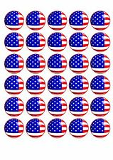 30 American Flag Edible WaferPaper Cupcake Cup Cake Decoration Topper Image
