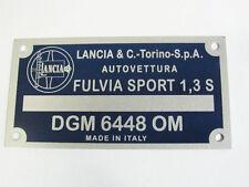 TARGHETTA IDENTIFICATIVA DATI LANCIA FULVIA SPORT 1,3 S ('68-'70)