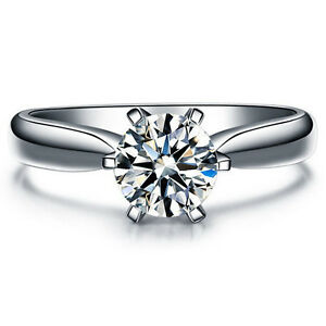 Platinum Plated Cubic Zirconia Solitaire Promise Womens Engagement Ring Gift