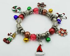 Xmas Charm Stretchy Bracelet Snowflake Stocking Candy Cane Crystal Enamel BD33