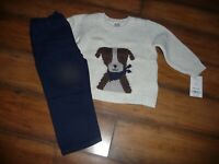 NEW NWT Carters boys 18 months adorable dog sweater blue pants outfit set NICE