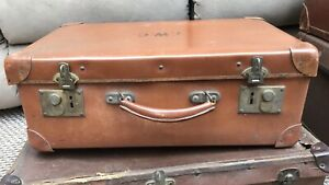 """Vintage Small Antler Brown Suitcase Luggage - 20"""" X 13"""" X 7.5"""" - Initials TWC"""