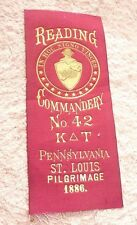 ANTIQUE  RIBBON KNIGHTS TEMPLAR MASONIC ORDER PENNSYLVANIA  ST LOUIS 1886