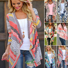 Womens Irregular Waterfall Cardigan Jumper Long Sleeve Sweater Shawl Coat 6 - 16
