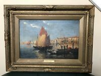 S.R. Torello Signed Oil Painting Maritime Entrance To Grand Canal