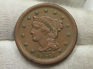 VF/XF 1851 Large Cent.  #38
