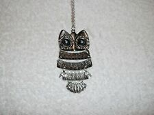 Ex-display SILVER & BLACK Large OWL Pendant NECKLACE