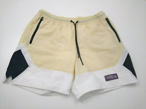 Nike Jordan Swim Gym Shorts Beige White 100% Nylon Fully Lined XL Drawstring