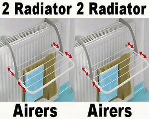 2 x Indoor Clothes Radiator Airer Drying Rack Dry Washing Horse Dryers New