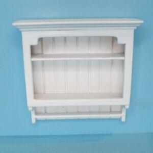 Dollhouse Miniature Wood White Kitchen Wall Shelf Unit T2650