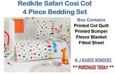 Redkite Safari Cosi Cot - 4 Piece Bedding Set - Quilt, Bumper, Blanket, & Sheet