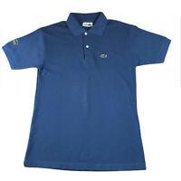Vintage Lacoste La Chemise Mens Blue Polo Shirt Sleeve Logo RARE Size M