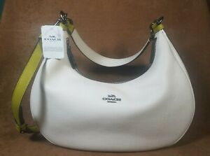 NWT Coach Colorblock Harley Hobo White Chalk/ Chartreuse Green Purse