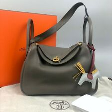 Hermes Lindy Gold GHW Size 30 Grey Taupe Togo Leather Tote Shoulder Bag Handbag
