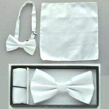 Pre Tied Bow Tie White Hankie Handkerchief Prom Wedding Bar Mitzvah Confirmation