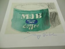 "ANDY WARHOL HAND SIGNED  PRINT IN BLUE PEN ""BIG COFFEE TIN""  1985 WITH COA"