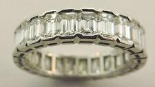 LADIES DANIEL K. PLATINUM EMERALD CUT DIAMOND WEDDING BAND RING SIZE 7
