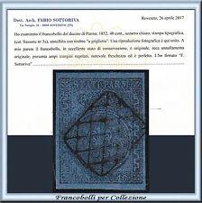 ASI 1852 Parma cent. 40 azzurro n. 5a Usato Certificato Antichi Stati  Italiani