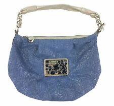 Kathy Van Zeeland Small Blue Silver Fabric Slouch Purse Big Emblem Black Jewels