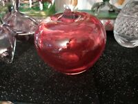 1 Red Murano Glass Apple Paperweight Red Vintage, Glass Art Apple Collectible