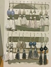 White or Silver Tassel & Stone Bead Dangle Earrings on Silver Plated Wires.