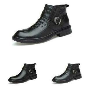 Men Ankle Boots Dress Shoes Alligator Print Business Buckle Leather Work Booties