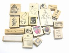Wooden RUBBER STAMP Block Lot Fire Hydrant Bird Cage Xmas African Mask +More