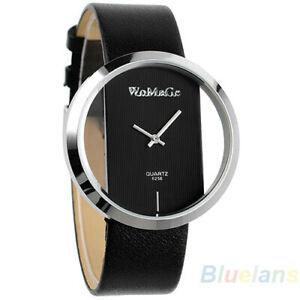 * WATCH * BLACK COLOURED - SILVER RIM - BLACK FAUX LEATHER BAND - NEW