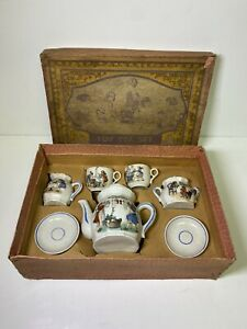 Antique Children's Toy Tea Set Germany Made Porcelain China w/ Original Box
