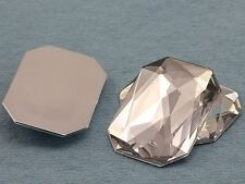 40X30mm Crystal Clear A01 Flat Back Acrylic Octagon Gemstones - 4 PCS