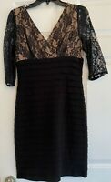 Gorgeous Adrianna Papell Date night Black Cocktail Dress Size 8 P Petites