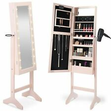 Floor Standing LED Light up Mirror Jewellery Storage Cabinet Organiser Pink