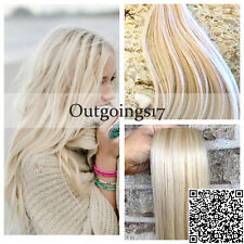 Brazilian Solid Color Platinum Blonde Tape In Remy Real Human Hair Extensions