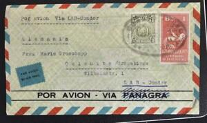 BOLIVIA to GERMANY 1937 Horse Warrior on LAB-CONDOR Airmail Flight Cover ORURO >