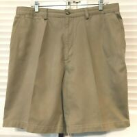 St. Johns Bay Chino Shorts, Size 36-9 Khaki-Colored 100% Cotton, Flat Front NICE