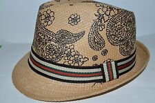 Men's Cuban Style Fedora Trilby Hat Panama Short Brim Cap Sunhat Brown New