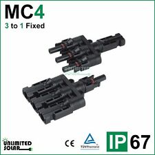 Unlimited Solar 3 to 1 Fixed Solar Panel MC4 Parallel Connector set - IP 67