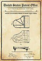 Ee.uu. Patent Grand Piano Fortes 1878 Letrero de Metal Arqueado Cartel Lata