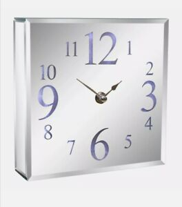 LED Light Up Square Mirrored Silver Glass Contemporary Wall Or Mantel Clock gift