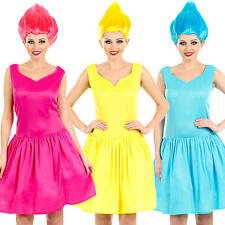 Pixie + Wig Ladies Fancy Dress Fairytale Troll Book Gnome Womens Adults Costume