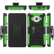 For Samsung Galaxy On5 Belt Clip Case Neon Green Holster Hybrid Phone Cover