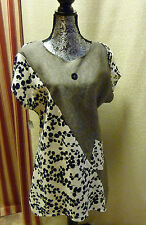 Linen Tunic SALE pixie Dress BOHO patchwork scoop neck shortsleeve summer A-line