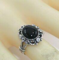 Onyx  Silber Ring    Onyx & Weiß Topas  925er Sterling   ANTIK STYLE   # 55