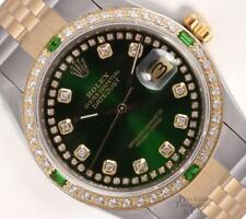 Rolex Datejust 36mm Two Tone 18k Emerald Diamond Bezel Green String Diamond Dial